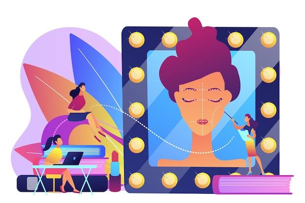 Schüler, die dem lehrer in schulungen zu professionellen make-up-fähigkeiten zuhören. make-up-kurse, make-up-schule, konzept der kosmetik-meisterklasse.