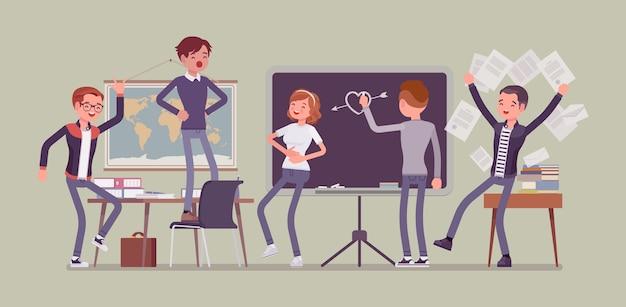 Schüler, die sich im klassenzimmer schlecht benehmen