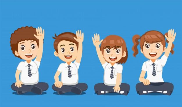 Schüler haben einen vorschlag in gruppenaktivitäten.
