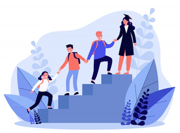 Schüler helfen sich gegenseitig beim aufstieg