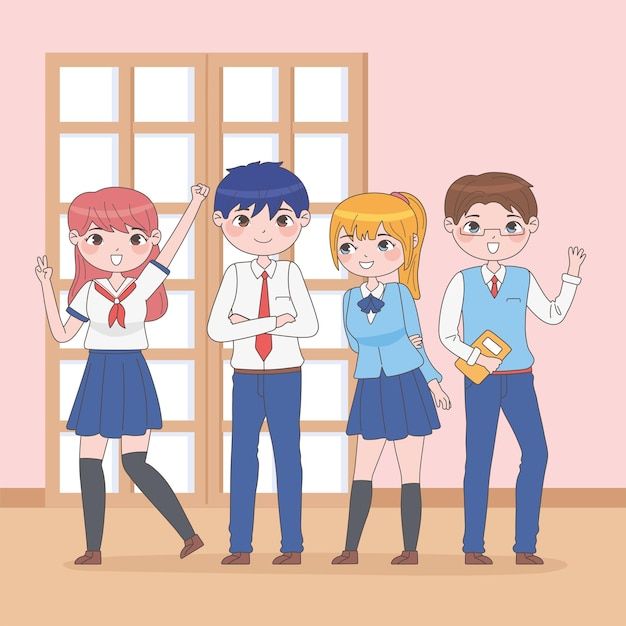 Schüler im manga-stil in der schule