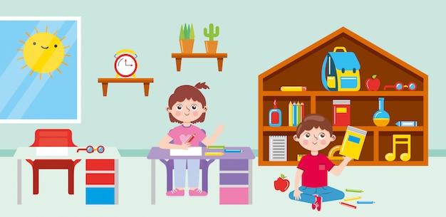 Schüler ins klassenzimmer mit schreibtischen schulmaterial spielzeug und holzbibliothek. zurück zur schule. illustration