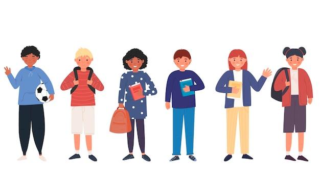 Schüler jungen und mädchen. kinder. süße charaktere. zurück zum schulkonzept. der schüler bereitet sich auf die schule vor. für ihre gestaltung.