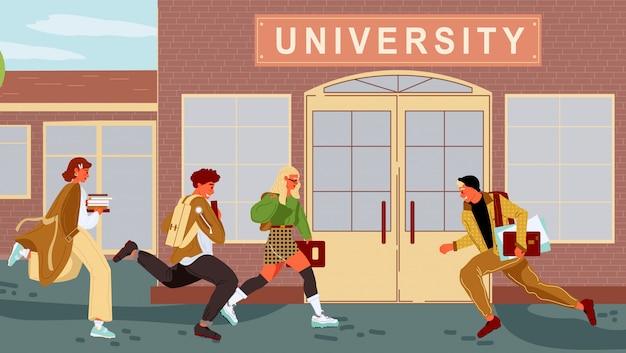 Schüler, lehrer kommen zu spät zum unterricht. jungen, mädchen, die rucksäcke und bücher aufbewahren, beeilen sich und rennen zur universität in der nähe von bäumen. beginn des neuen akademischen jahres. liebe zum lernen. flache illustration des vektors.