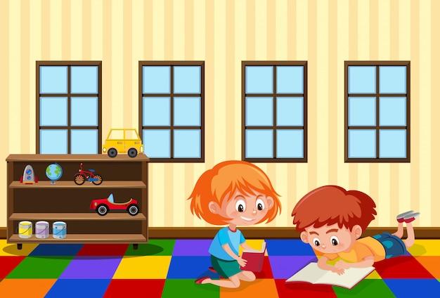 Schüler lernen im spielzimmer
