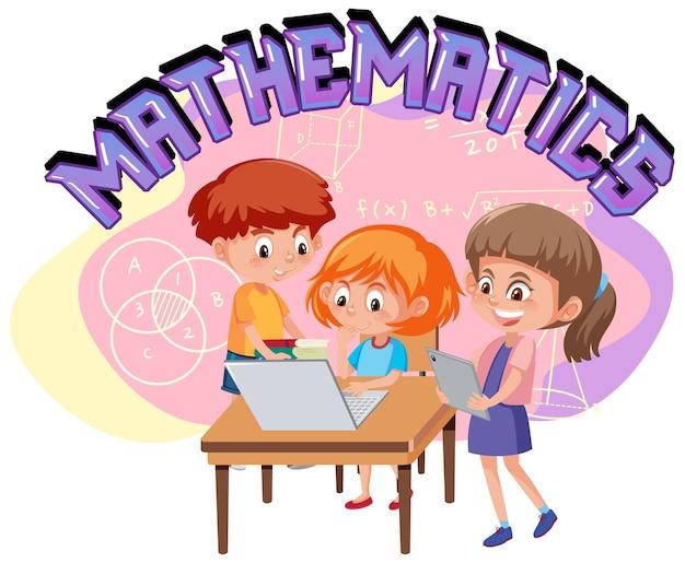 Schüler lernen mathematik mit einem elektronischen gerät