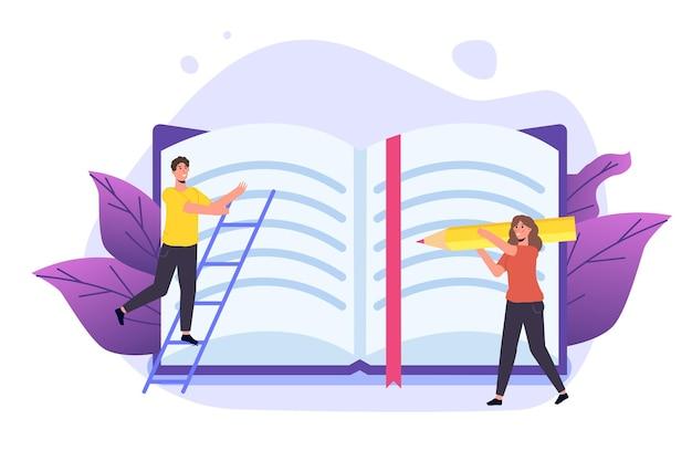 Schüler lesen buch und bereiten sich auf die prüfung vor. bücher liebhaber konzept. illustration