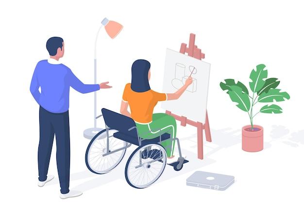 Schüler mit behinderung unterrichten. frau im rollstuhl zeichnet auf staffelei. lehrer korrigiert ihre arbeit. stationäre bildung für behinderte menschen mit e-learning. vektorrealistische isometrie