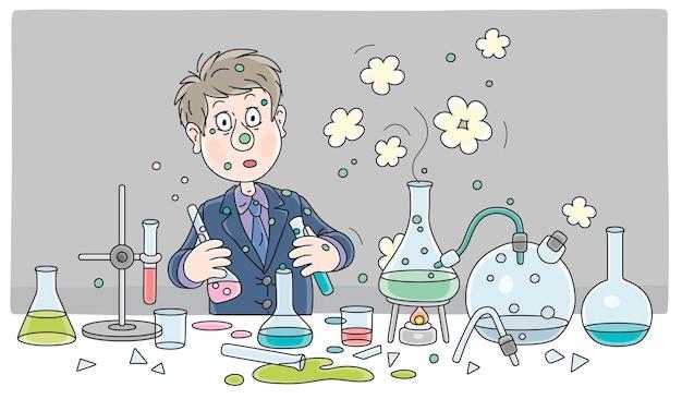 Schüler mit einer großen wissenschaftlichen idee nach einer explosion während eines gefährlichen experiments mit chemischen reagenzien und geräten im chemieunterricht in einer schulklassenvektor-cartoon-illustration