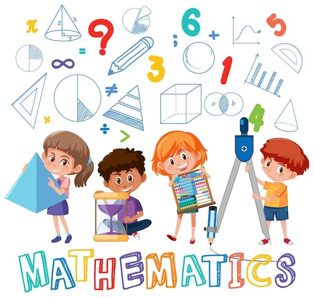 Schüler mit mathesymbol und symbol