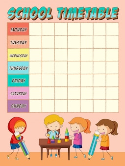 Schüler mit stundenplan