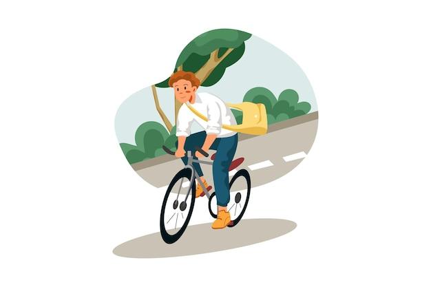 Schüler reiten fahrrad, um die schule zu erreichen