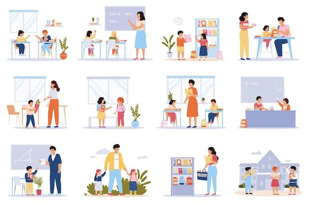 Schüler. schüler im klassenzimmer, schüler bereiten sich auf wissen vor, lernen in der schule, bereiten hausaufgaben-illustrationsset vor
