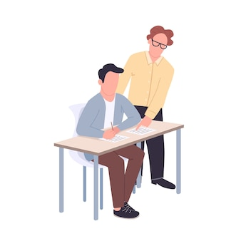 Schüler und lehrer flache farbe gesichtslose zeichen. unterstützender tutor, der schüler isolierte karikaturillustration für webgrafikdesign und -animation hilft. hilfe bei der akademischen ausbildung, mentoring