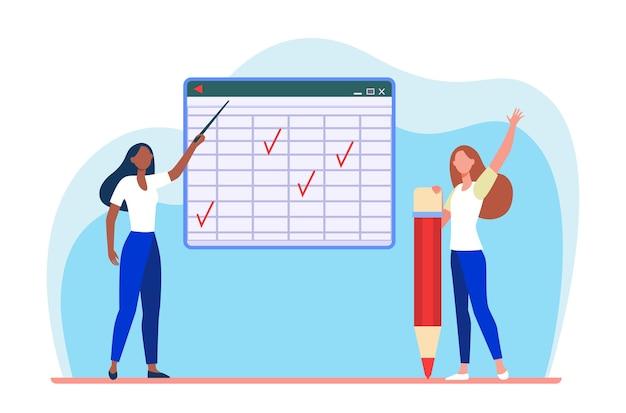 Schüler und lehrer im unterricht. zeigen auf matrix-tafel, hand heben für flache antwortillustration.