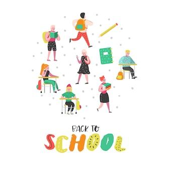 Schüler- und schülercharakter-set