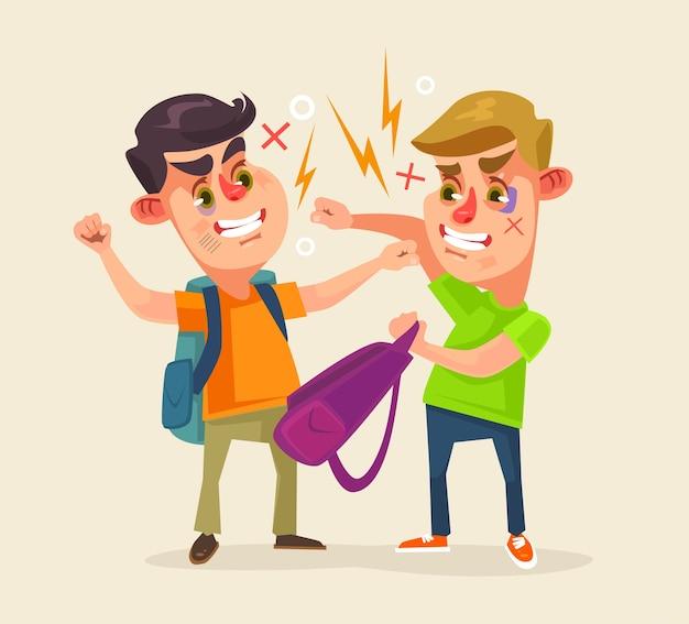 Schülercharaktere kämpfen