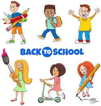 Schülerkinder zurück zu schulkarikatursatz