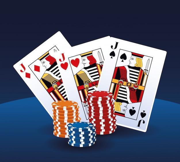 Schürhakenkarten und chips stapelten das spielende kasino des wettenspiels