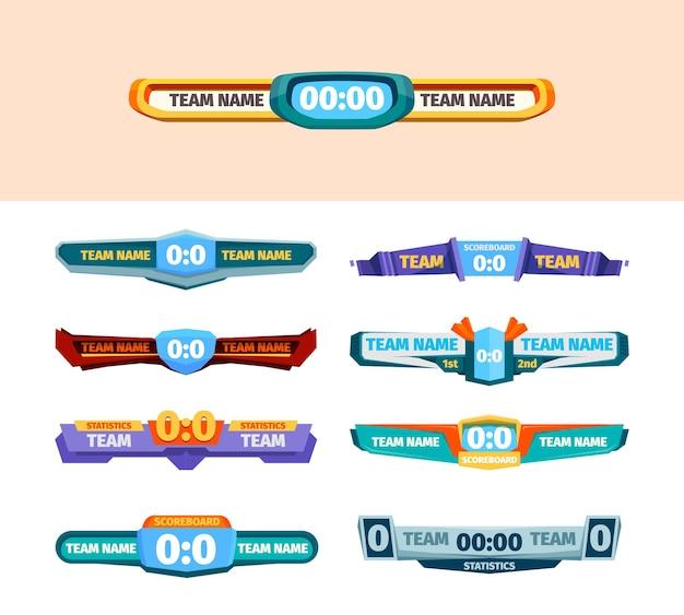 Schürze bretter. score-grafiken im vergleich zu spielerinformationsbannern, timer und teamstatistik-vektorvorlage. illustrationswettbewerb und meisterschaft, fußballturnierergebnis