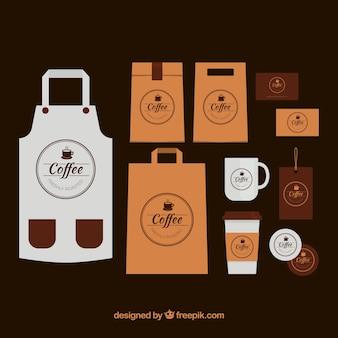 Schürze pack und kaffee artikel