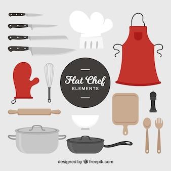 Schürze und artikel zum kochen benötigt