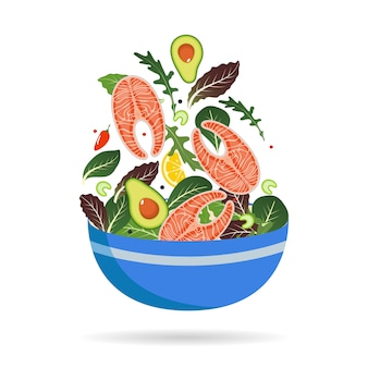 Schüssel frische mischung aus salatblättern, gemüse und lachs.