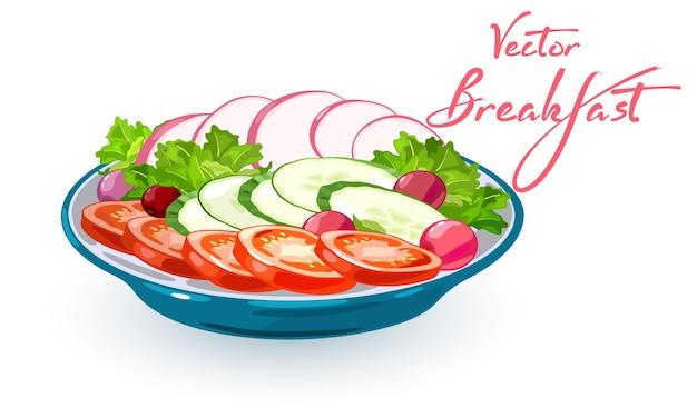 Schüssel mit frischem gemüse scheiben tomaten gurken salat und radieschen