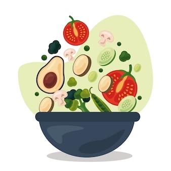 Schüssel mit frischem obst und gemüse gesundes lebensmittel stellte ikonen-illustrationsdesign ein