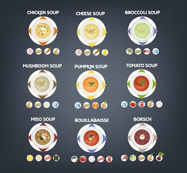 Schüssel mit heißem leckerem suppenset. sammlung von suppe und zutaten. tomaten und kartoffeln, zwiebeln und karotten. vektor flache illustration