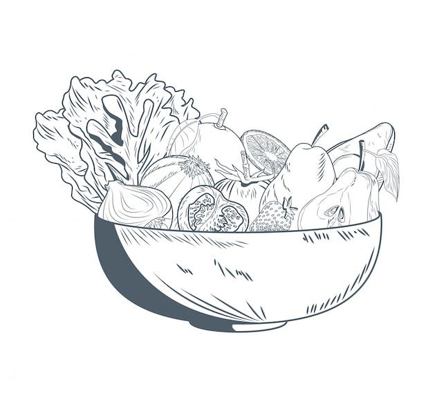 Schüssel mit obst und gemüse hand zeichnen