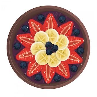Schüssel obstsalat, gesundes essen. flacher stil. natürliches frühstück mit banane, blaubeeren und erdbeeren, draufsicht.