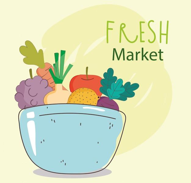Schüssel trauben zwiebel apfel trauben frischmarkt bio gesunde lebensmittel mit obst und gemüse illustration