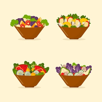 Schüsseln mit obst und salat