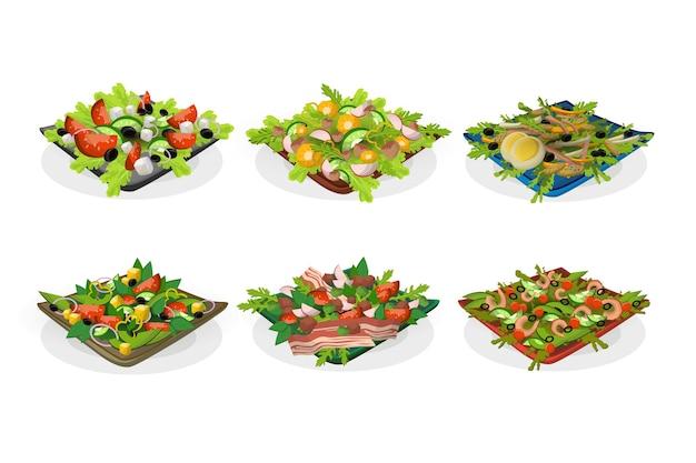 Schüsseln mit salaten gesetzt