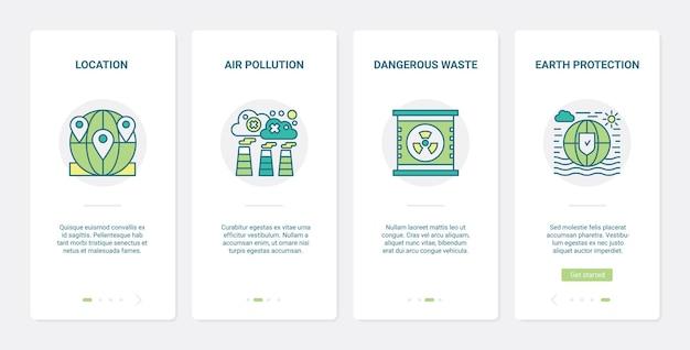 Schützen sie den ökologieplaneten vor verschmutzung. ux, ui onboarding mobile app set industrie verschmutzt luft, erde mit gefährlichen giftmüll, umweltschutz