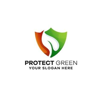 Schützen sie grüne farbverlaufs-bunte logo-vorlage