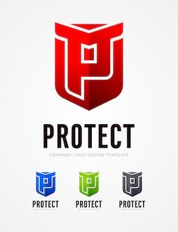 Schützen sie p letter logo design