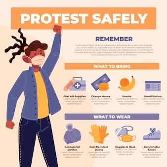 Schützen sie sich und protestieren sie sicher frau mit medizinischer maske