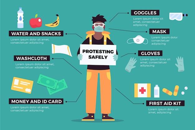 Schützen sie sich und protestieren sie sicher infografik