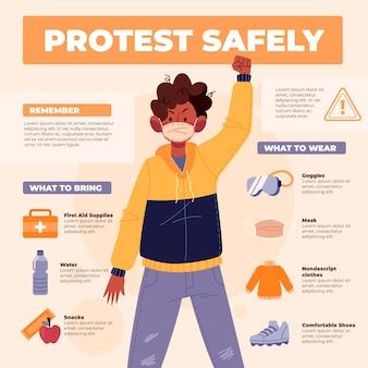 Schützen sie sich und protestieren sie sicher mann in jacke