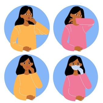 Schützen sie sich vor der grippe. trage masken, bedecke deinen mund.
