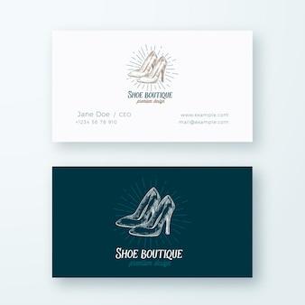 Schuh boutique abstraktes logo und visitenkartenvorlage. high heels frauen schuhe illustration und vintage typografie emblem. premium stationär realistisch.