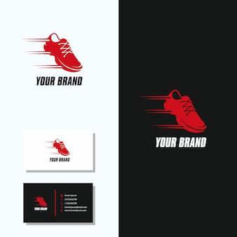 Schuh-sport-logo mit visitenkarte logo design