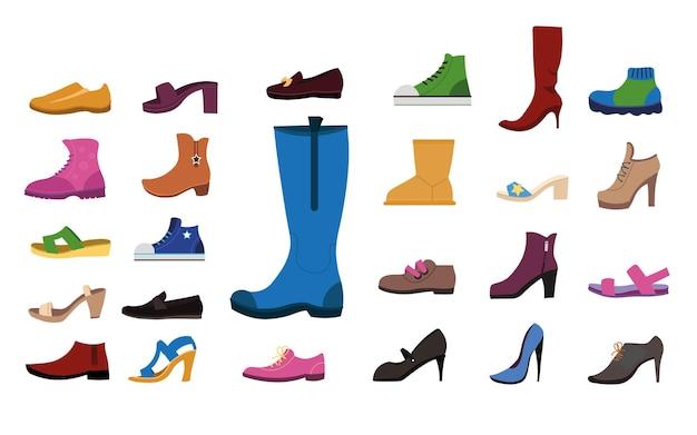 Schuhe für frauen flache illustrationen set