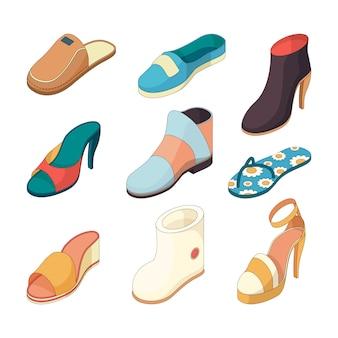 Schuhe mann frau. freizeitkleidung stiefel modell pantoffel schuh aus leder isometrische illustrationen