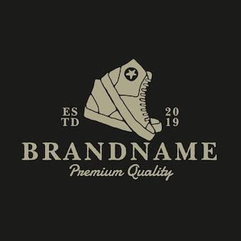 Schuhe vintage logo entwurfsvorlage