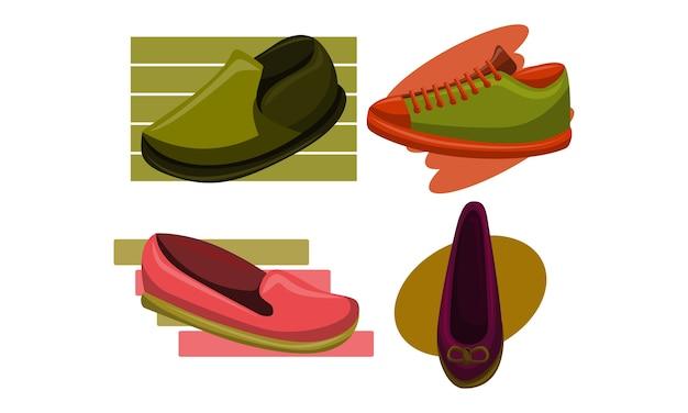 Schuhe zurück zu schule vorlage vector set