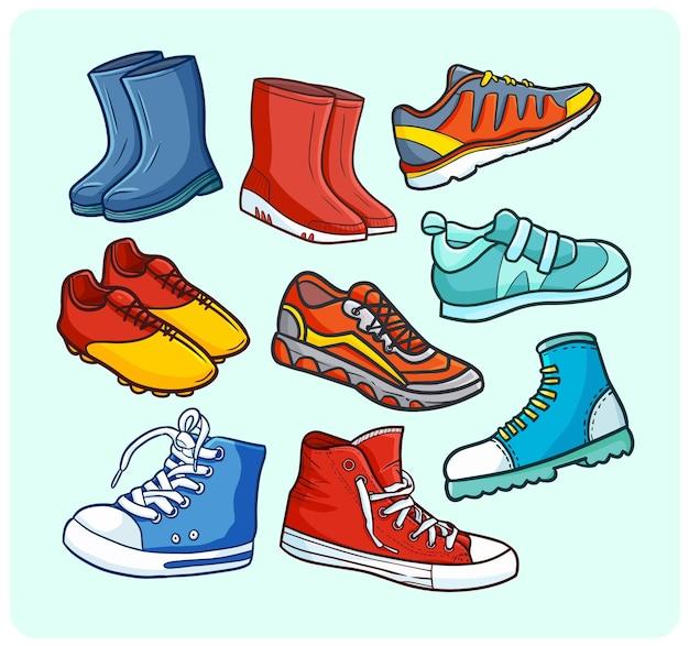 Schuhkollektion im einfachen doodle-stil