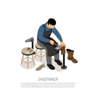 Schuhmacher mit professionellen werkzeugen in der werkstatt isometrisch